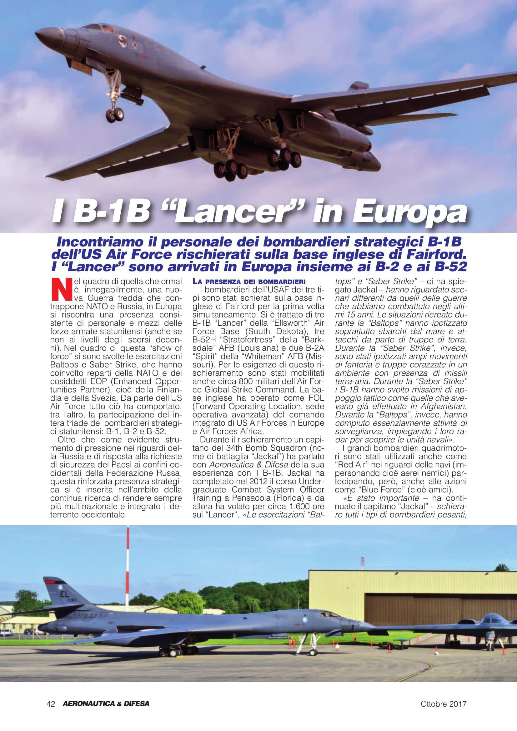 Aeronautica & Difesa (Italy)_Baltops & Saber Strike 2017-2